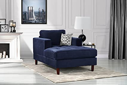 DIVANO ROMA FURNITURE Mid Century Modern Velvet Fabric Living Room Chaise Lounge (Navy)