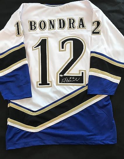 official photos cfabd baba4 Peter Bondra Autographed Blue & White Jersey - Washington ...
