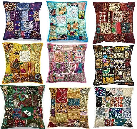10pc bordado sari Patchwork Funda para cojín, 17 x 17 ...