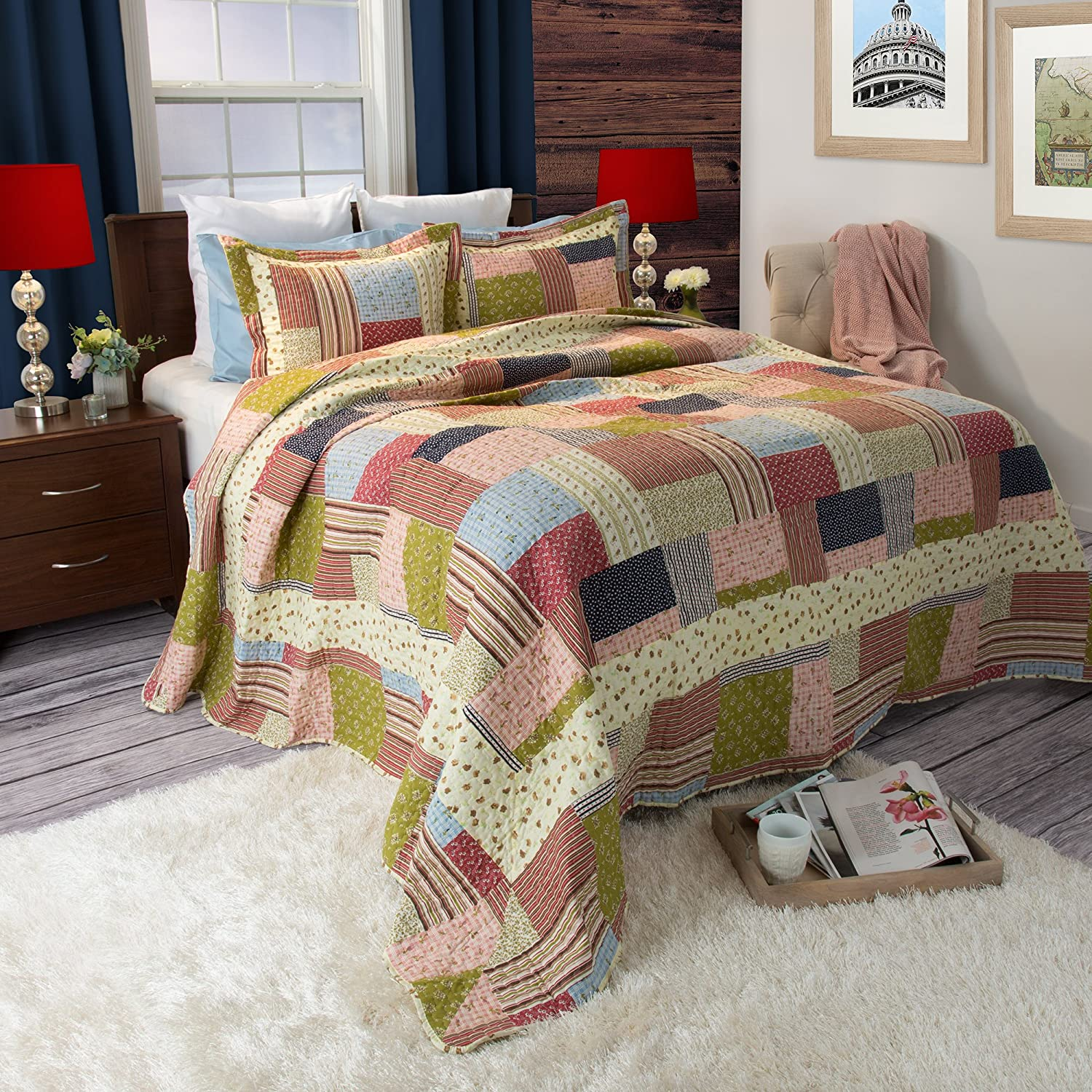 Lavish Home Savannah Printed 2-Piece Quilt Set, Twin