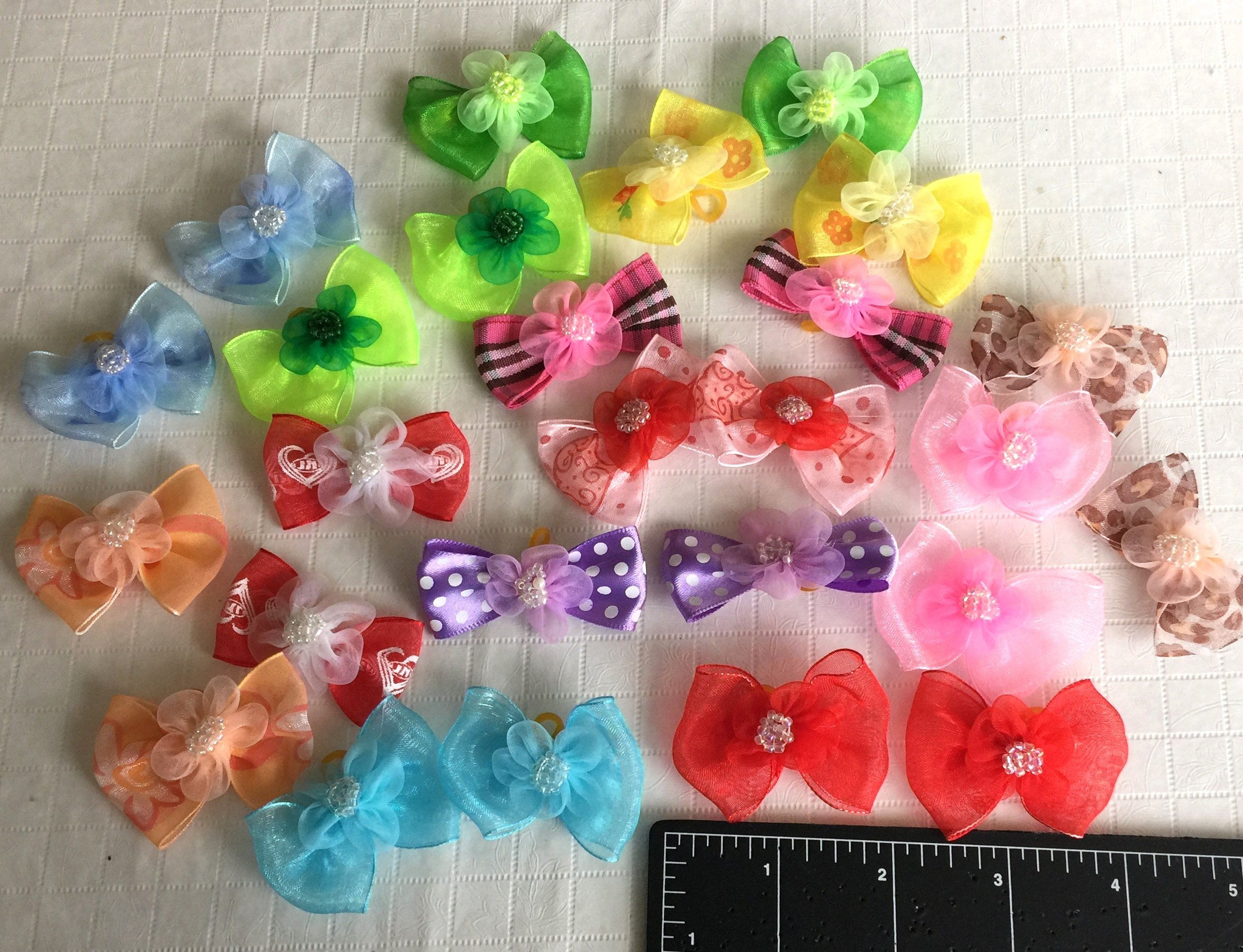 30 Dog Hair Bows 2 inch size - 3D with Shiffon Flower & Beads - Excellent for Girl Doggies!!!-handmade for Grooming by JJ Couture