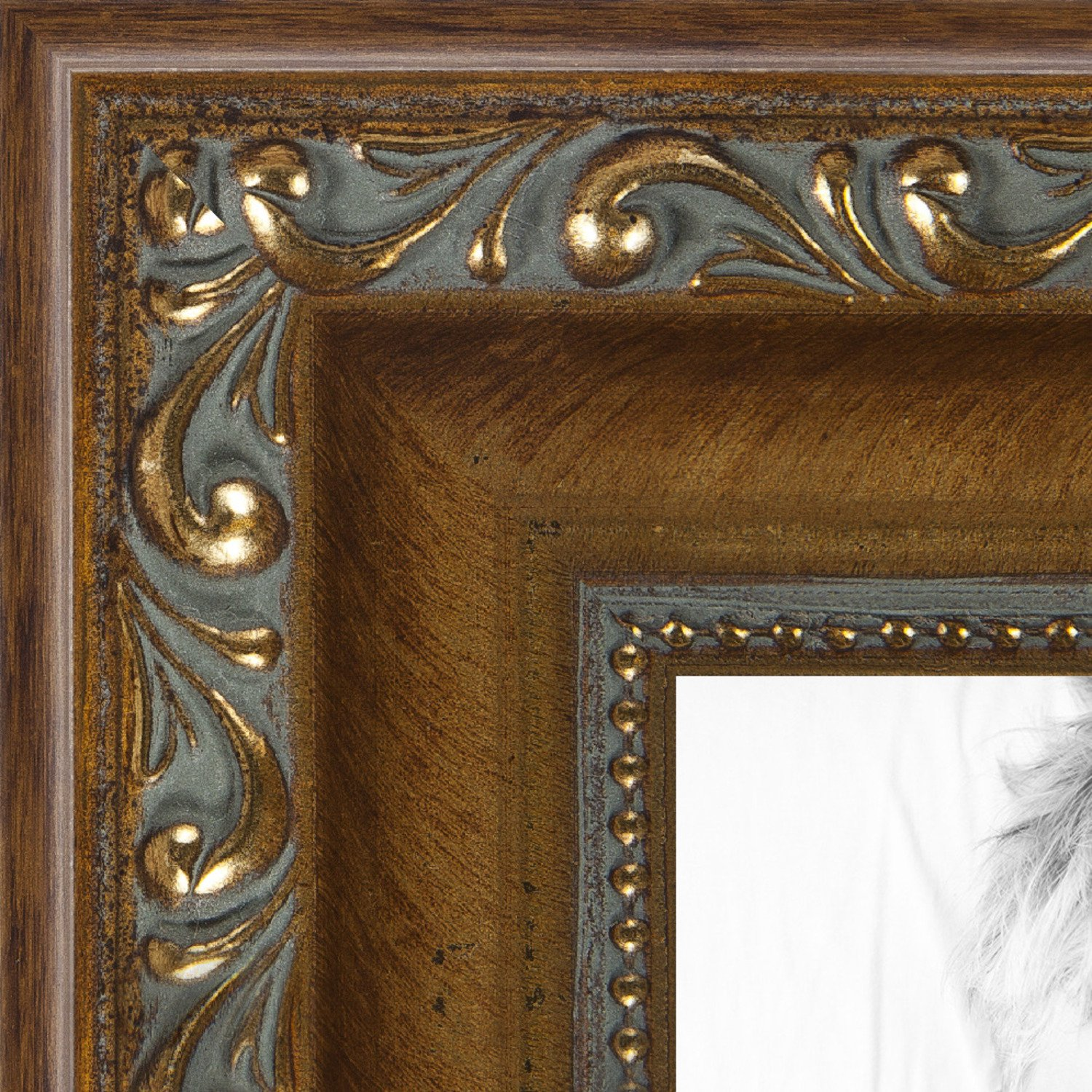 ArtToFrames 12x16 inch Dark Gold with Beads Wood Picture Frame, WOMD6301-12x16 by ArtToFrames