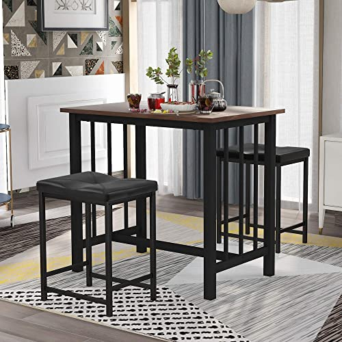 Cheap Goujxcy 3-Piece Bar Table Set Kitchen Counter Height Dining Set dining room set for sale