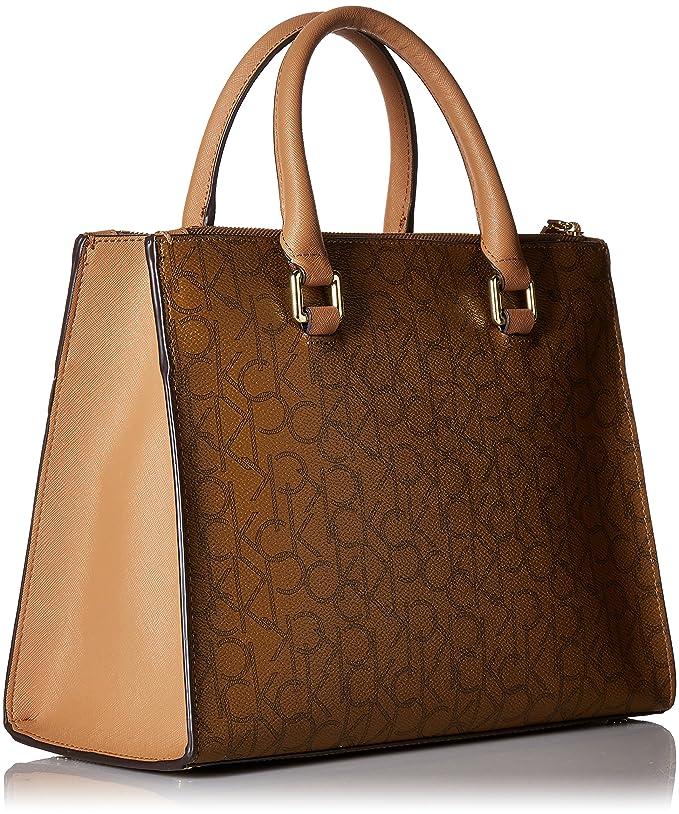 eb7ccd629f0 Amazon.com: Calvin Klein womens Calvin Klein Logan Monogram Signature  Satchel, khk/brown, One Size: Shoes
