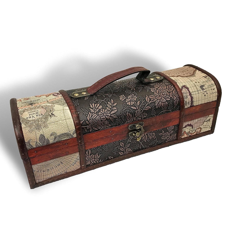 Allgala Wooden Wine Bottle Box with Antique Finish, 2-Bottle