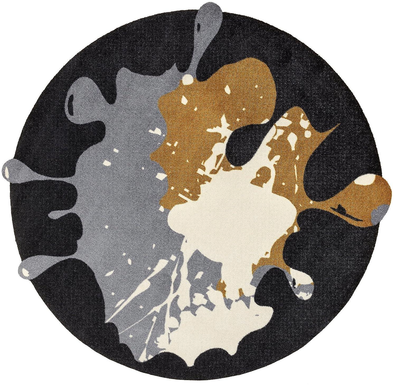 Wash+dry Circle Blob schwarz Fußmatte, Acryl, grau, 150 x 150 x 0.9 cm