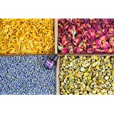 bMAKER Bulk Botanical Flowers Kit (4pack) Edible & Kosher Certified - 2 cups each of Lavender, Marigold, Chamomile and Red Rose Buds & Petals