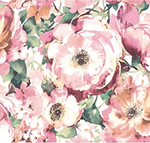 RoomMates Watercolor Floral Pink & Green Peel and Stick Wallpaper | Removable Wallpaper