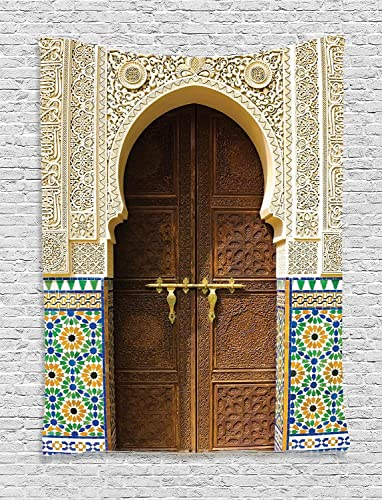 Ambesonne Moroccan Decor Collection, Countryside Houses Construction Facade Castle Classical Town Exterior Landscape Pattern, Bedroom Living Room Dorm Wall Hanging Tapestry,