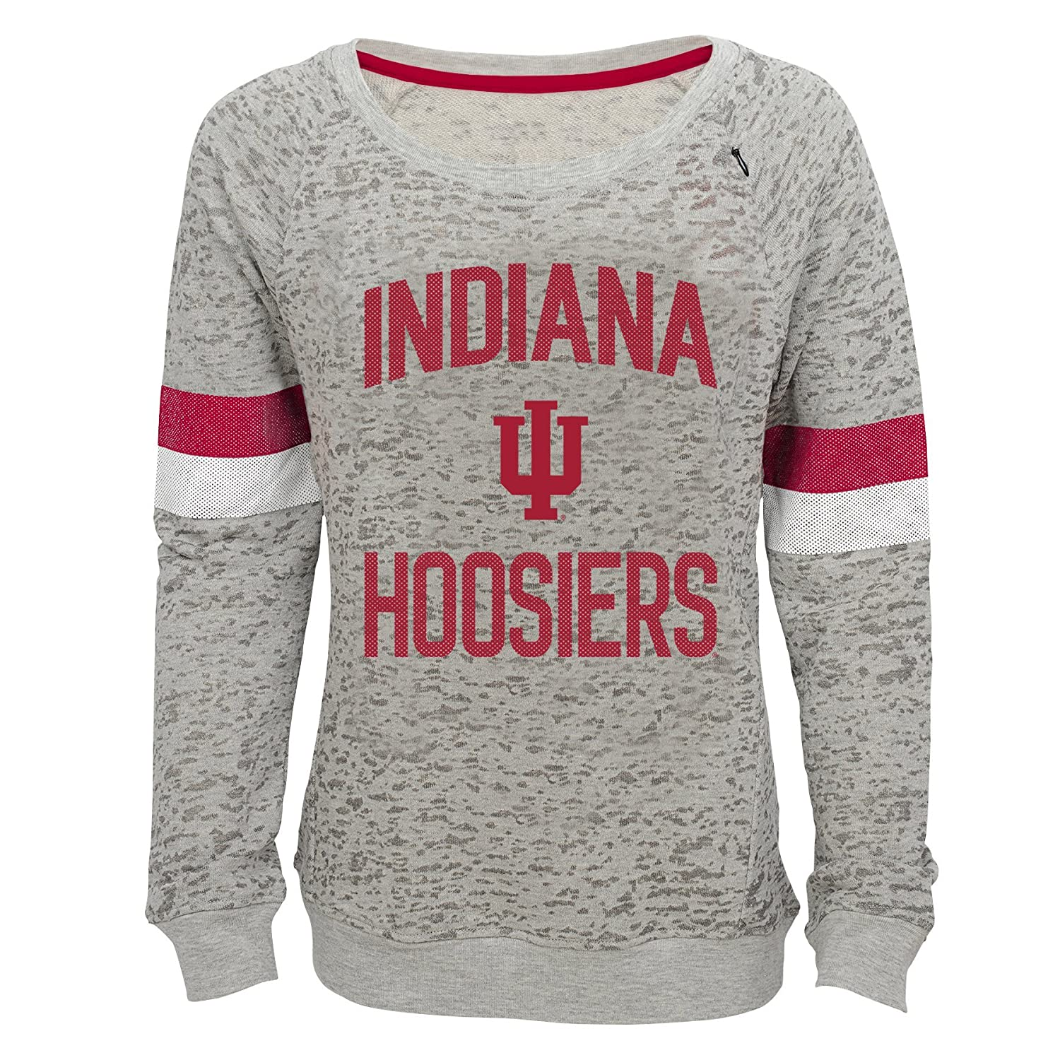 14 Youth Large Heather Grey NCAA by Outerstuff NCAA Indiana Hoosiers Youth Girls My City Boat Neck Pullover