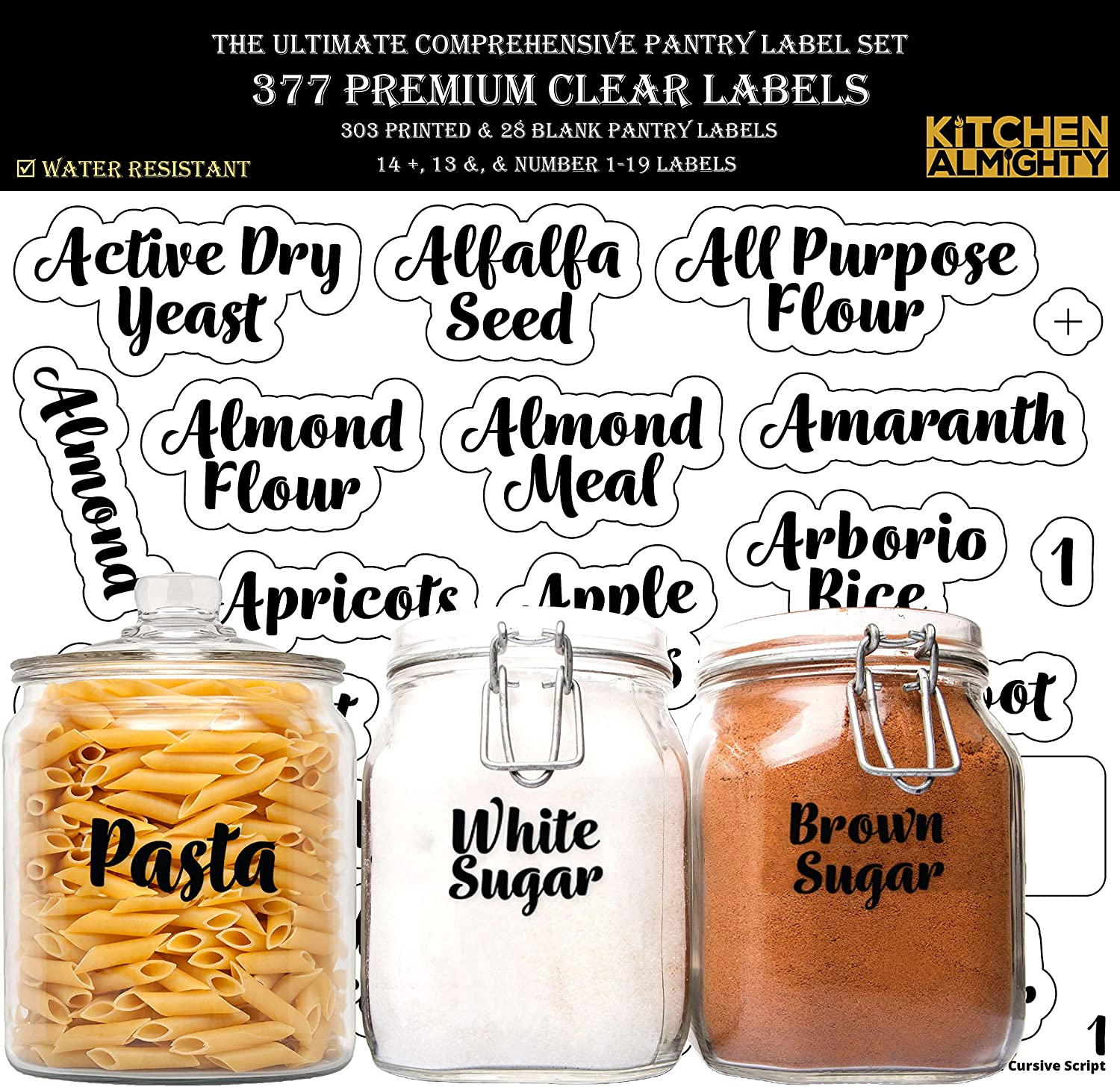 KITCHEN ALMIGHTY Pantry Labels: 377 Bold Cursive Gloss Clear Preprinted Water Resistant Complete Label Set to Organize Storage Containers, Jars & Canisters w/a Extra Write-on Sticker