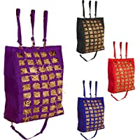 """Majestic Ally Slow Feed 2 Sides Open 28""""x22""""x10"""" Hay Bag for Horses, Adjustable Travel Feeder for Trailer and Stall…"""