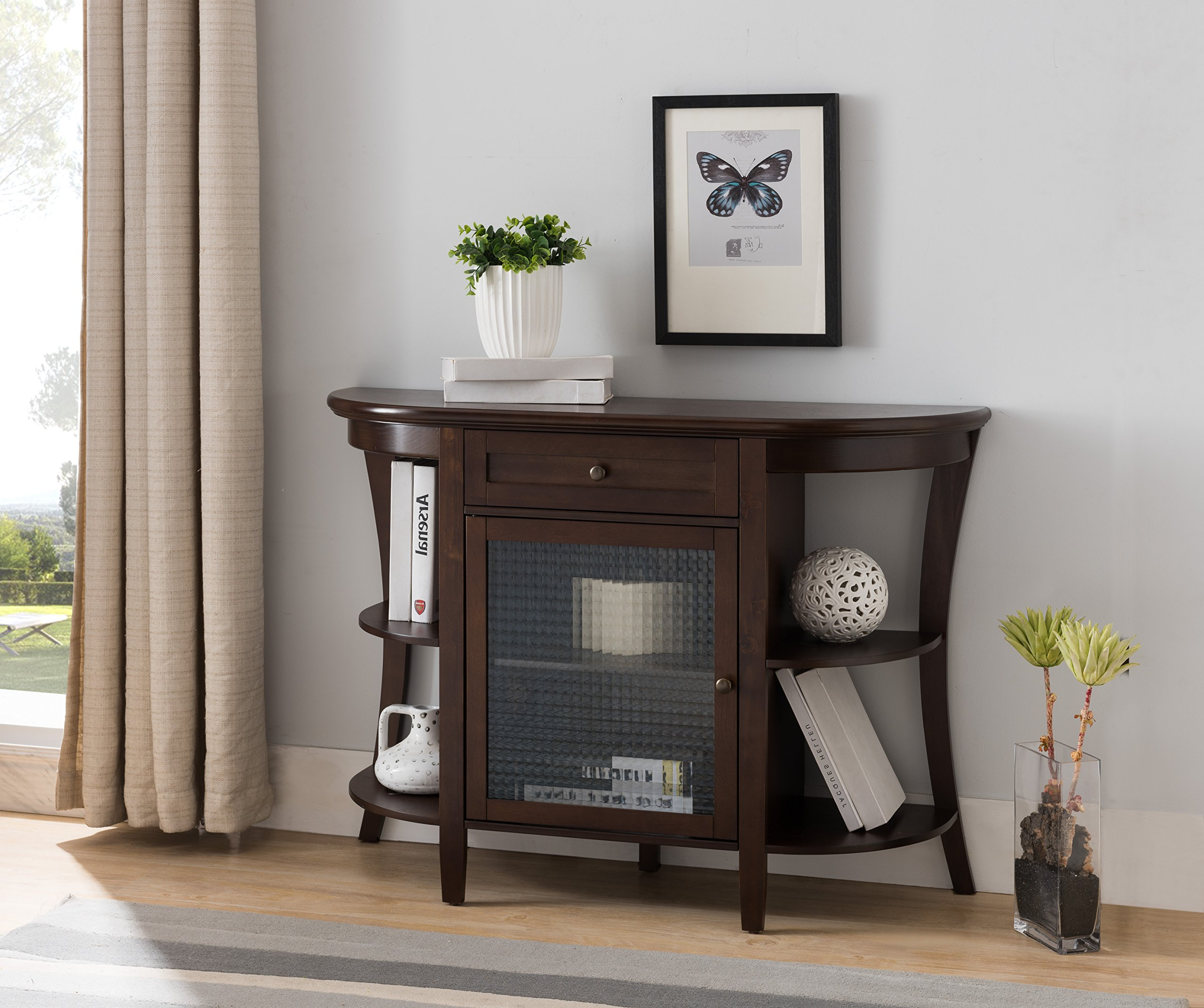 Walnut Wood Entryway Console Sofa Buffet Table With Storage Drawer, Cabinet & Shelves by Pilaster Designs
