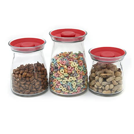 Anchor Hocking Studio Glass Storage Jars With Cherry Red Silicone Lids, Set  Of 3