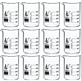12 Pack Beakers, 50ml - Borosilicate Glass, Low Form - 10ml Graduations - Eisco Labs