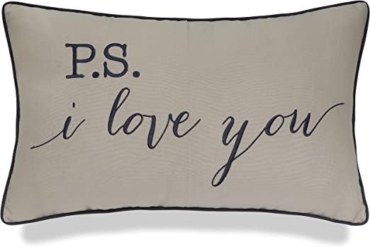 Yugtex P S I Love You Embroidered Lumbar Accent Throw Pillow Cover 12x20 Natural Home Kitchen
