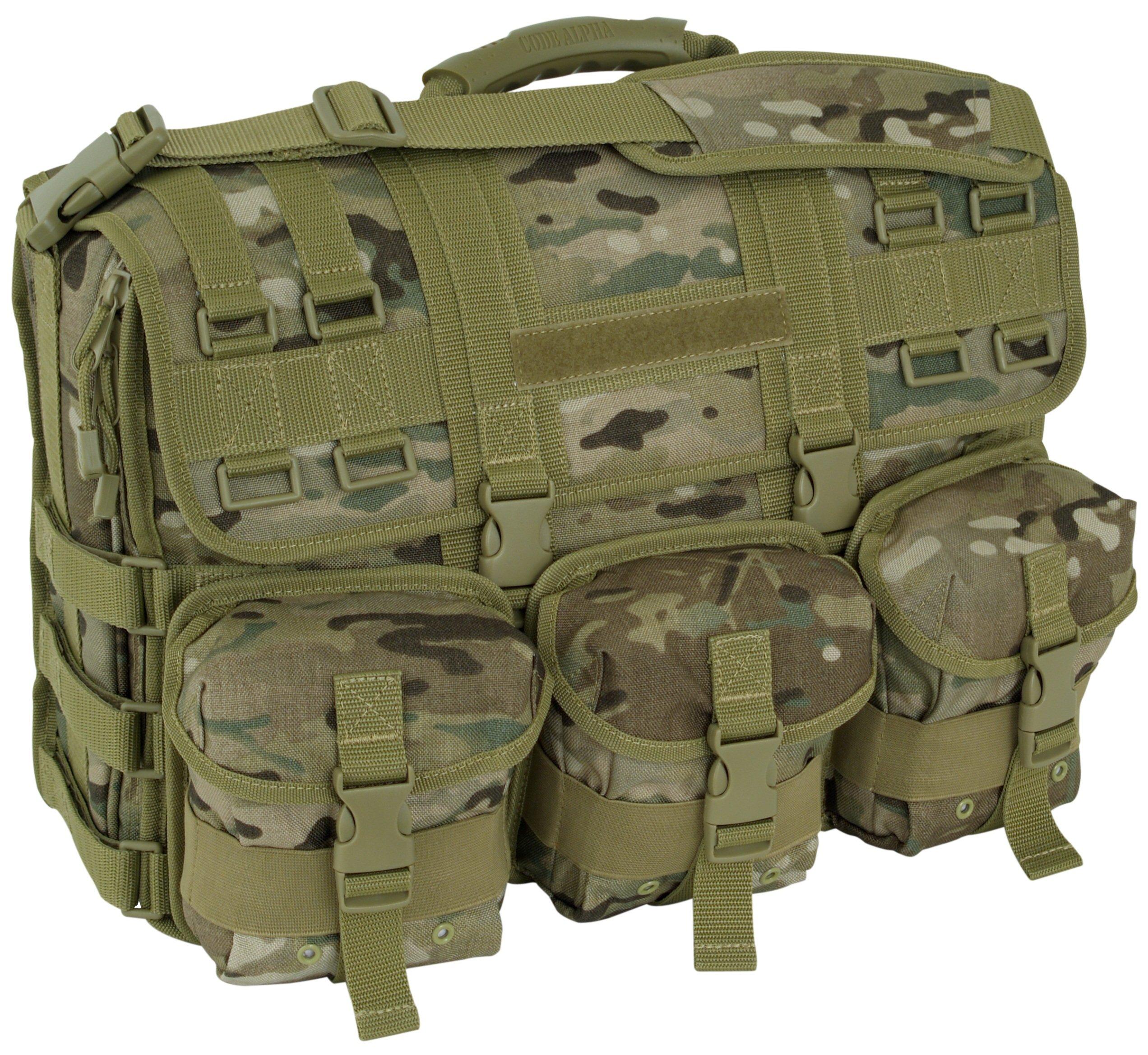 Code Alpha Computer Messenger Bag with Molle Pouches, Multicam