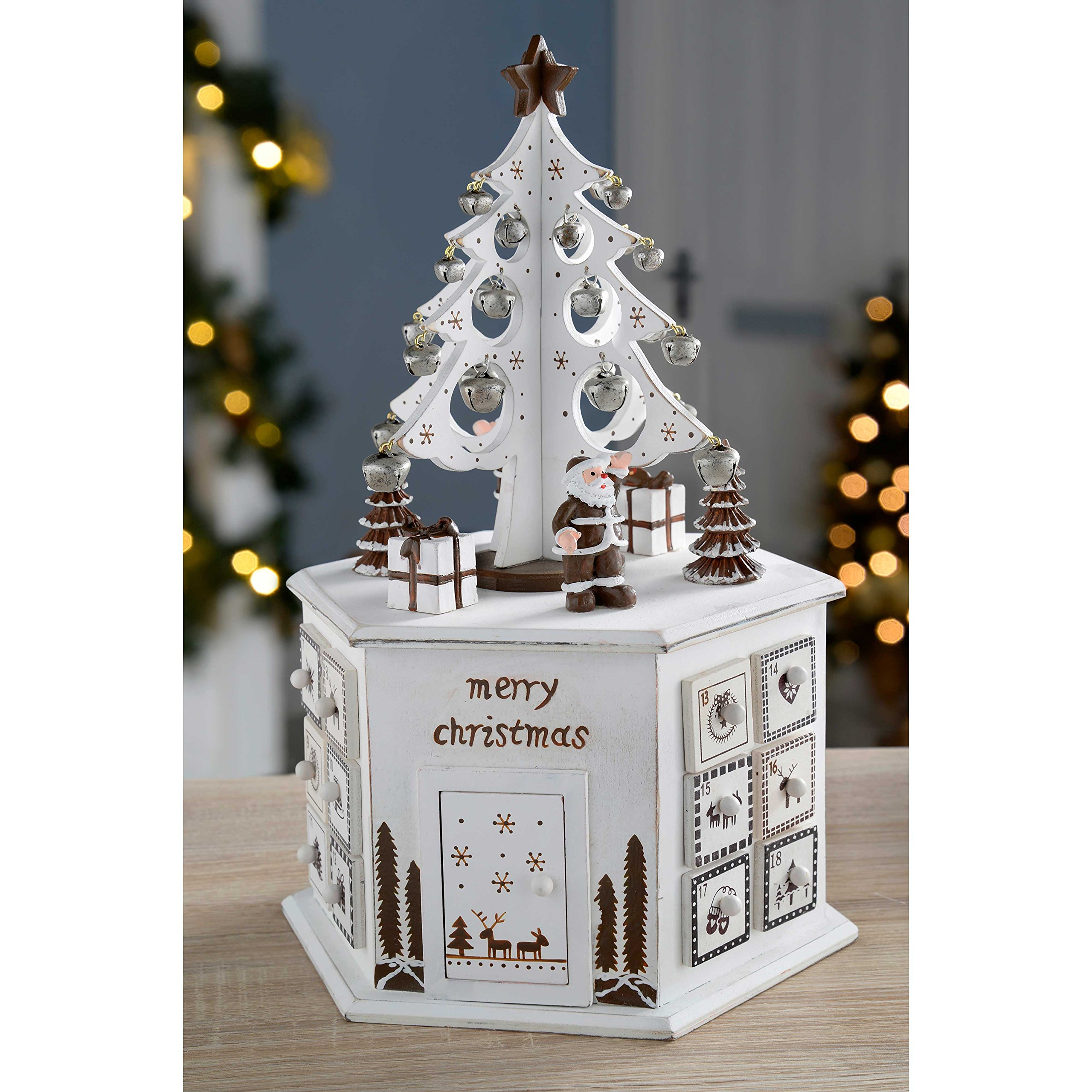 WeRChristmas Wooden Tree Advent Calendar Tower Christmas Decoration, 36 Cm - White by WeRChristmas (Image #2)