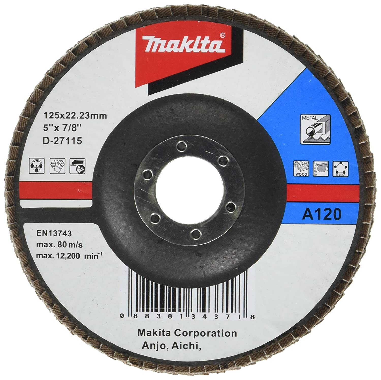 Multi-Colour Makita D-27115 Flap Disc 125Mm A120 Bevel