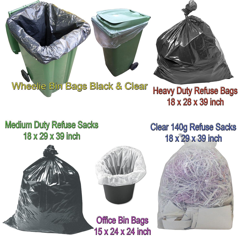 25 BLACK HEAVY DUTY LARGE REFUSE BAGS SACKS BIN LINERS RUBBISH 18x29x39 INCH BULK