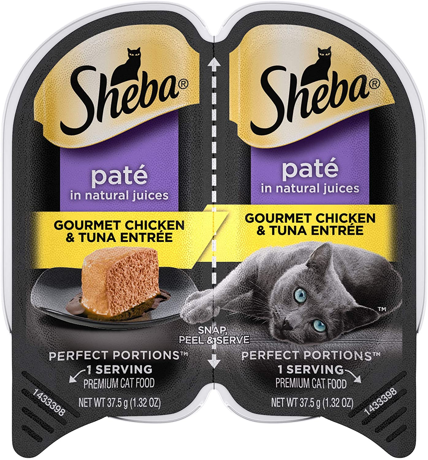 SHEBA PERFECT PORTIONS Adult Soft Wet Cat Food Paté, Gourmet Chicken & Tuna Entrée, (24) 2.6 oz. Twin-Pack Trays