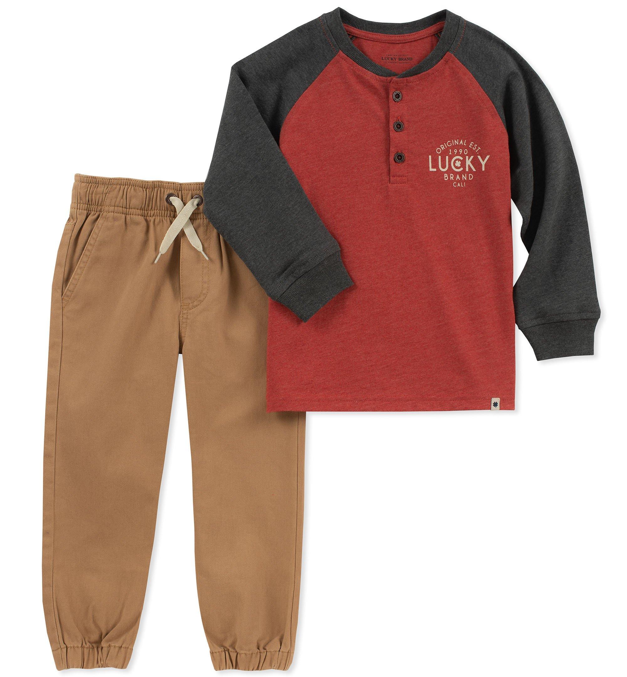 Lucky Sets Boys' Little 2 Pieces Pant Set, Charcoal/red/Khaki, 7
