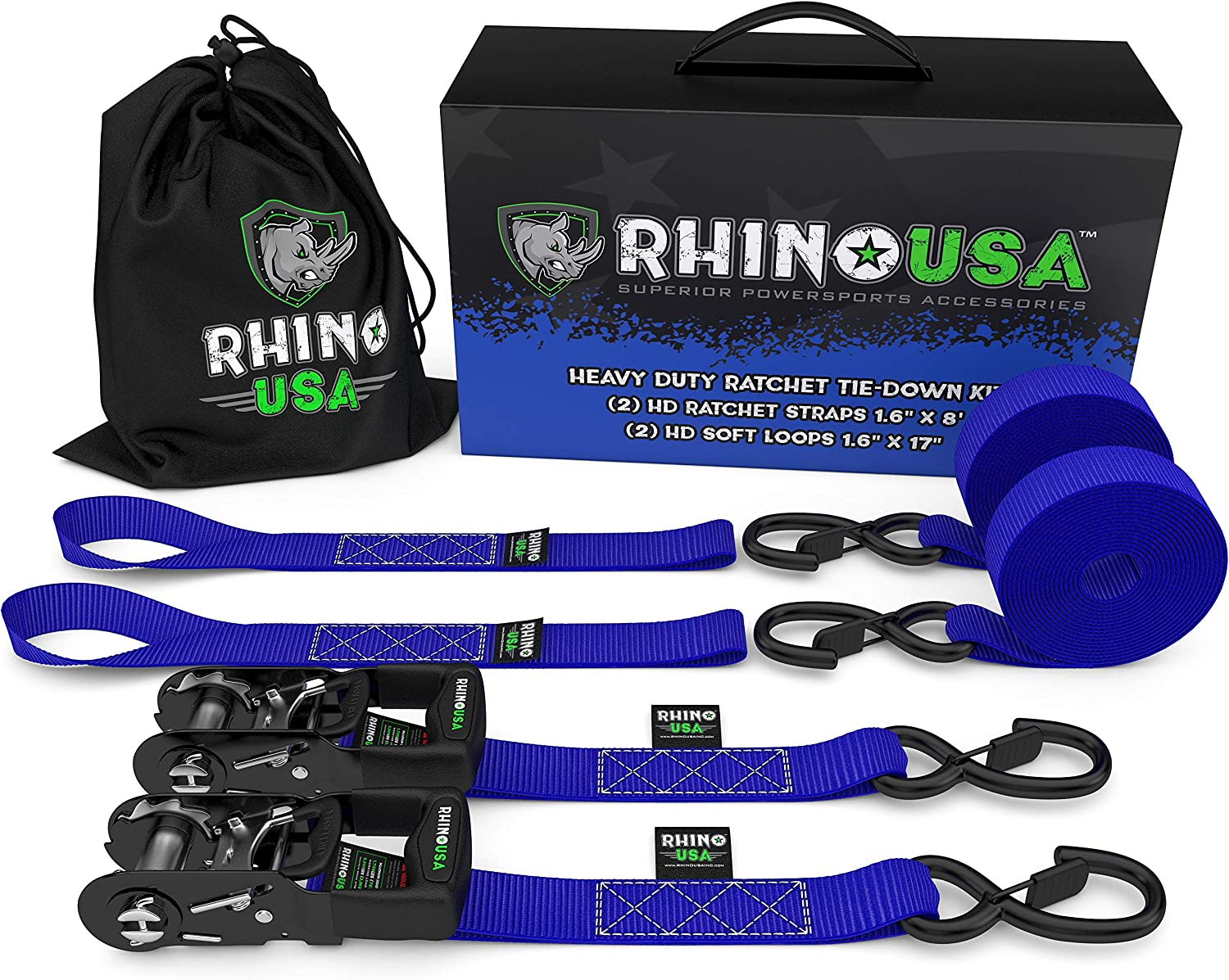 """RHINO USA Ratchet Straps Motorcycle Tie Down Kit, 5,208 Break Strength - (2) Heavy Duty 1.6"""" x 8' Rachet Tiedowns with Padded Handles & Coated Chromoly S Hooks + (2) Soft Loop Tie-Downs (Blue): Home Improvement"""