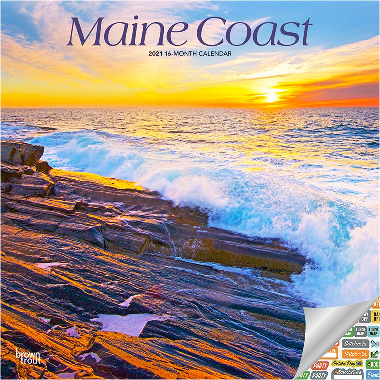 Maine Coast Calendar 2021 Bundle - Deluxe 2021 Maine Coast Wall Calendar with Over 100 Calendar Stickers (Nature Gifts, Office Supplies)