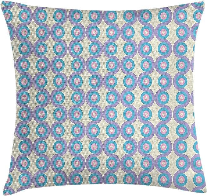 Abstract Throw Pillow Cushion Cover, Geometric Circles Discs