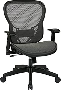 SPACE Seating R2 SpaceGrid Seat and Back, 2-to-1 Synchro Tilt Control, Adjustable Flip Arms, Nylon Base Adjustable Managers Chair, Black