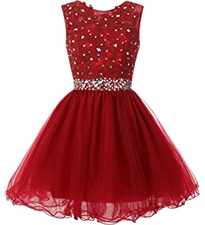 c3bb41d4b093 Mamilove Women's Tulle Short Applique Beading Formal Homecoming Cocktail  Party Dress