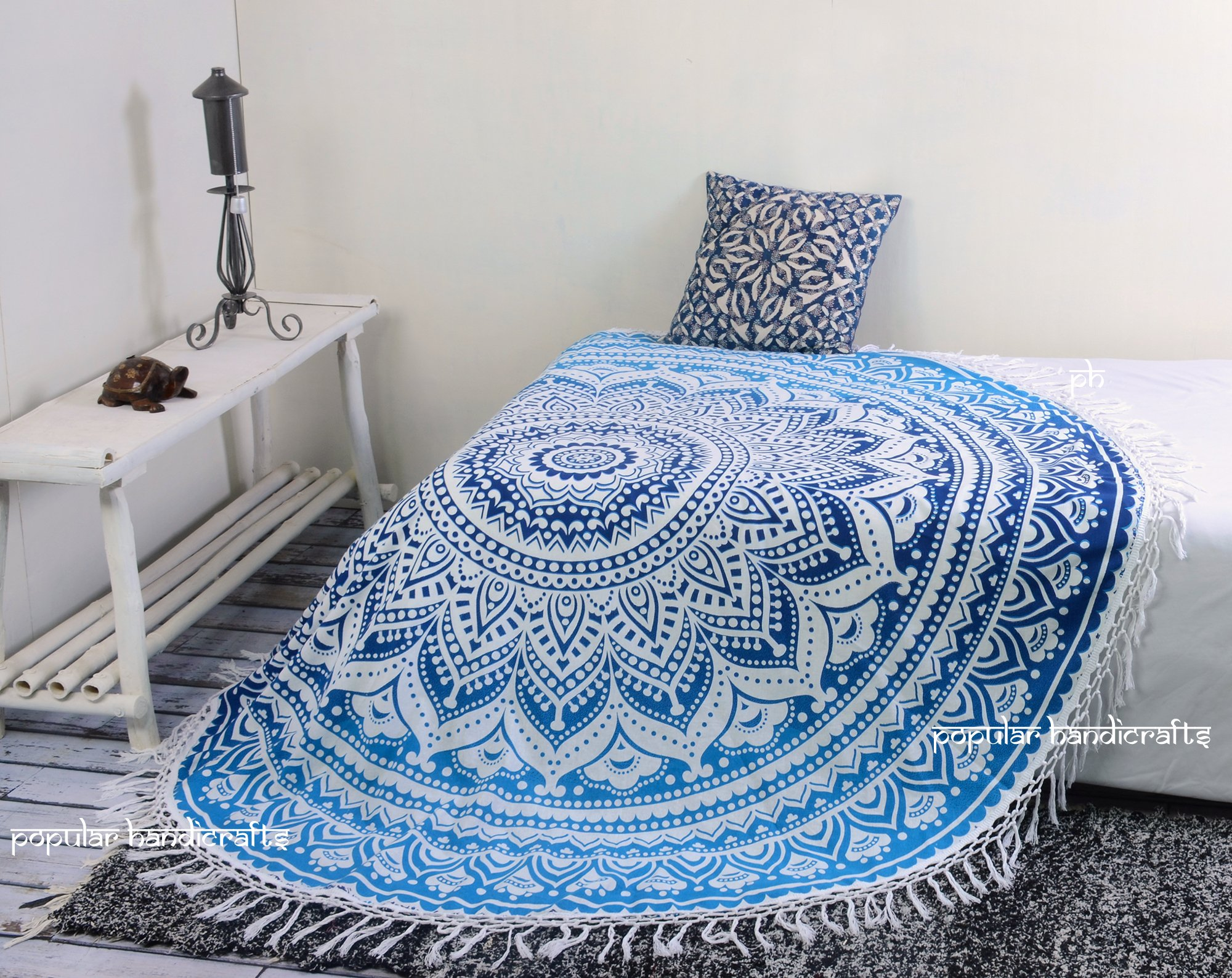 Popular Handicrafts Kp758 Tapestry Round ombre Mandala Roundie Beach Throw Indian Hippie Tapestry Wall Hanging Décor urban tapestry round table cloth 70'' with cotton tassel (Blue)