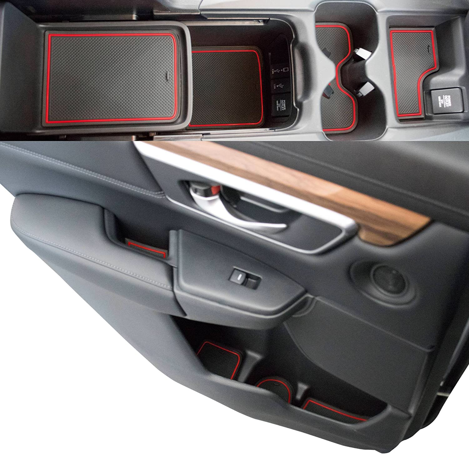 Custom Fit Cup, Door, Console Liner Accessories 2019 2018 2017 Honda CR-V CRV (Red Trim) CupHolderHero