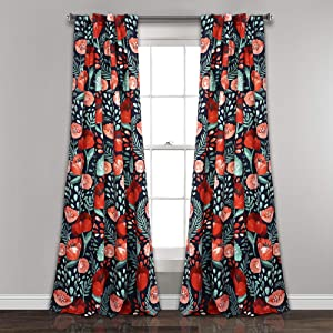 "Lush Decor Pair, 95"" x 52"", Navy Poppy Garden Curtains Room Darkening Window Panel Set for Living, Dining, Bedroom, 95"" L"