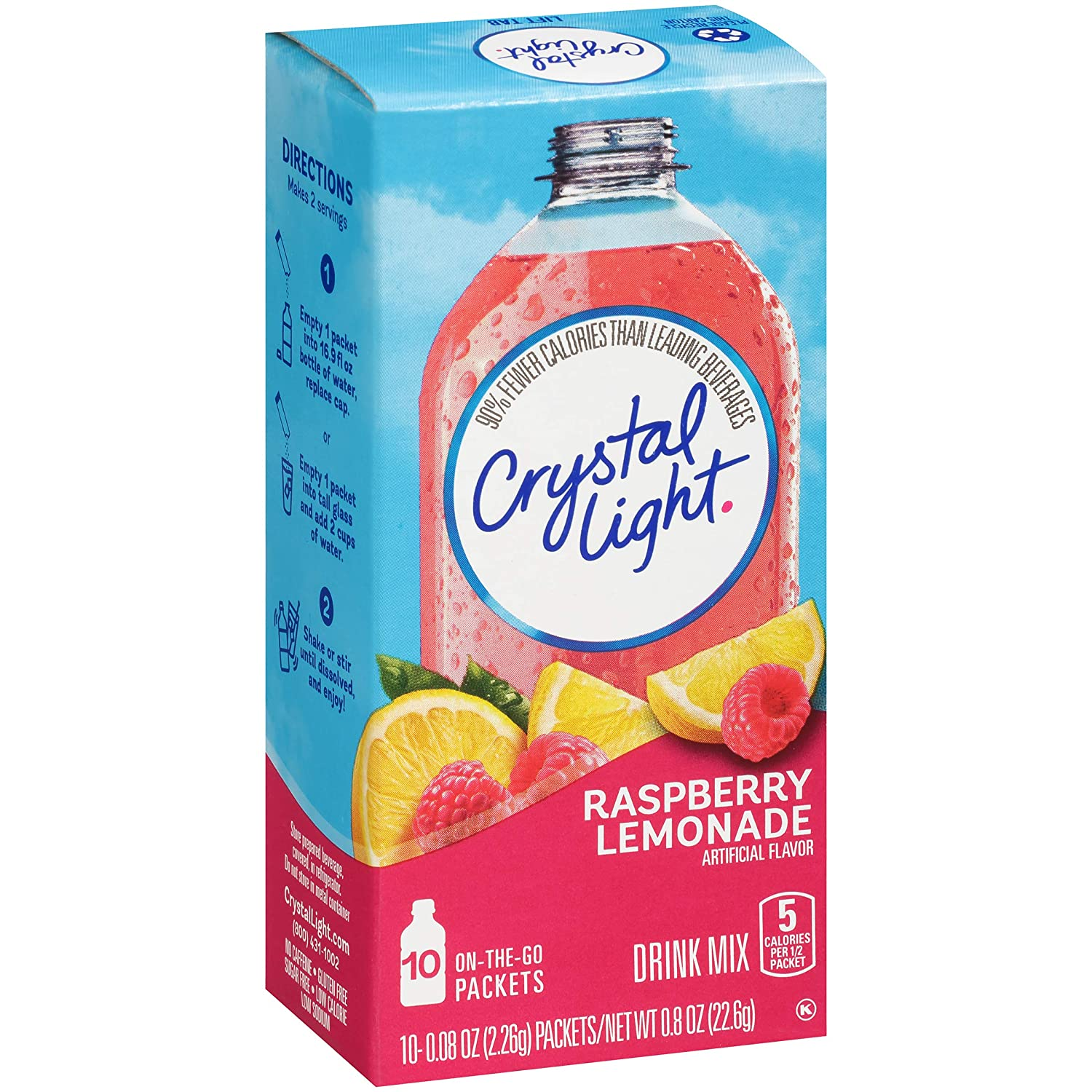 Crystal Light Raspberry Lemonade Drink Mix (60 On the Go Packets, 6 Canisters of 10)