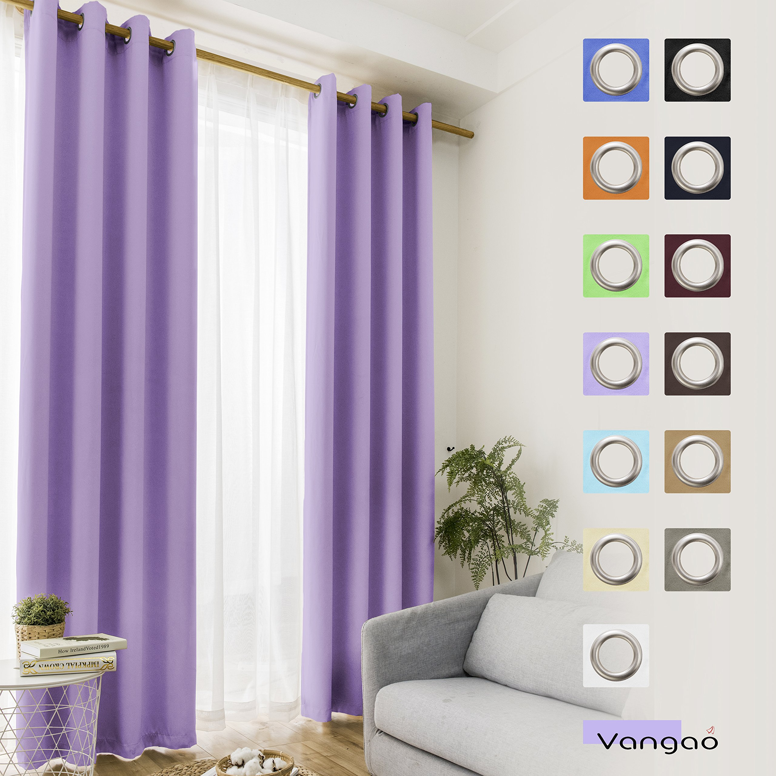 Vangao Light Blocking Lilac Blackout Curtains Girls Room Darkening ...