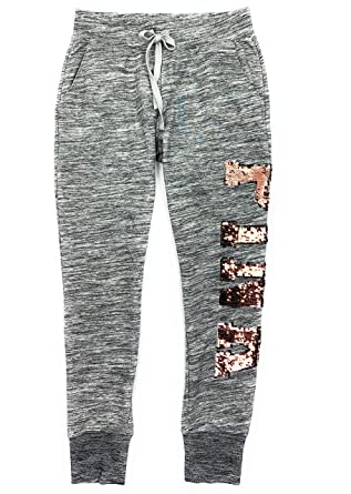 bright in luster cheap price popular style Victoria's Secret Pink Skinny Jogger Bling Sweat Pants Marl ...