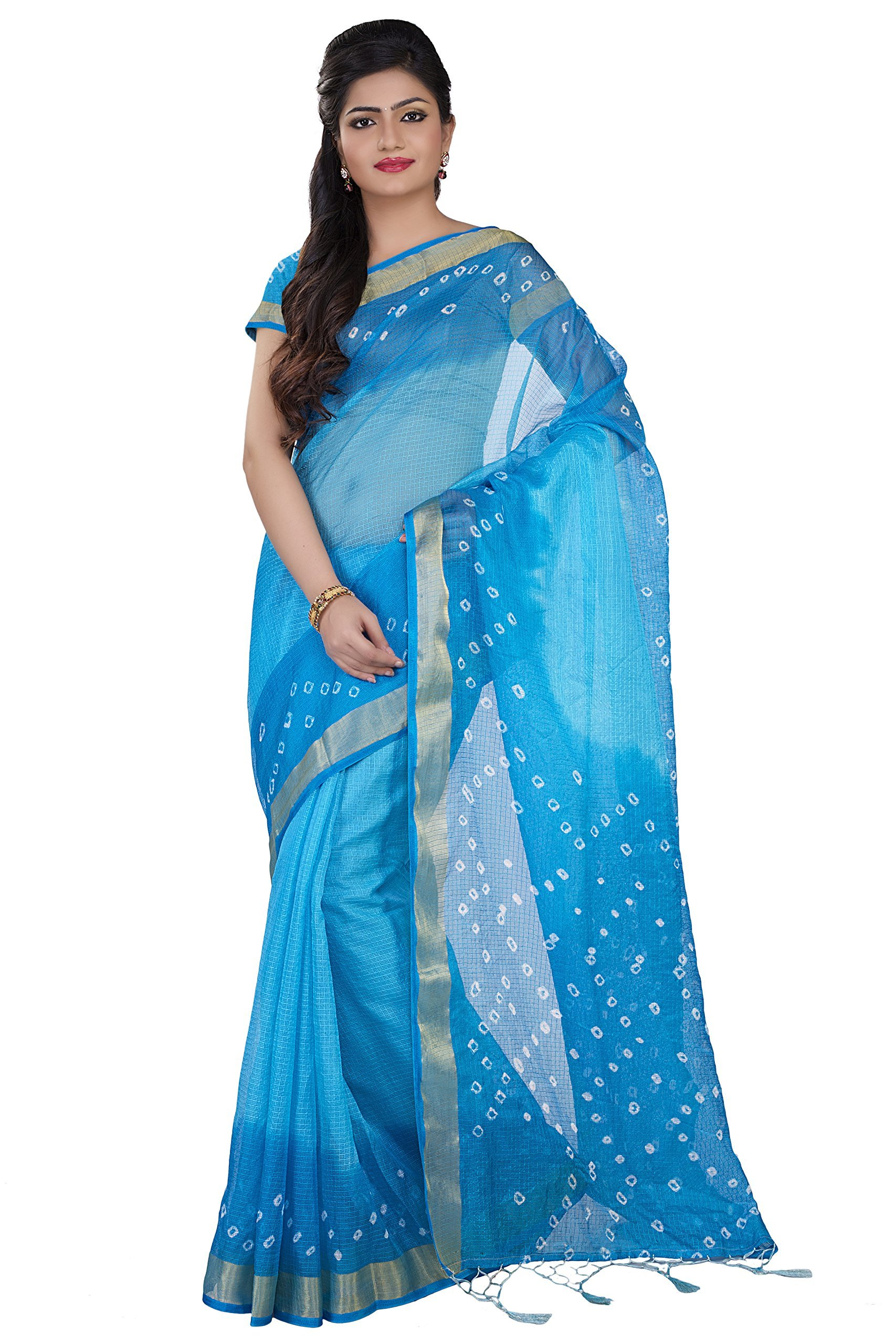 Rajnandini Women's Bandhani Printed Kota Silk Cotton Saree(JOPLSRS1024C_Blue_Free Size)