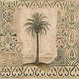 Palm Trees In Vintage Frames Damask Pattern Wallpaper Border Retro Design Roll 15 X