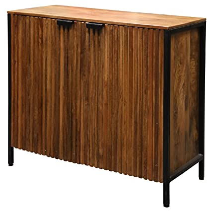 GwG Outlet Two Door Solid Mango Wood Cabinet In Black Finish
