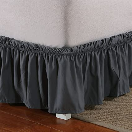Wrap Around Bed Skirt Elastic Dust Ruffle Easy Fit Wrinkle and Fade Resistant Solid Color Sold by Mohap Queen, Gray