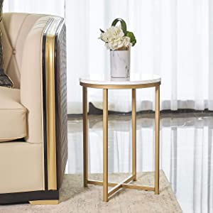 """XUANJIA Round Side End Table with Marble Top&Gold Base, Modern Bedside Small Coffee Table for Bedroom Living Room, 14"""" L14 W20.25 H"""