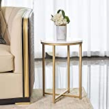 "XUANJIA Round Side End Table with Marble Top&Gold Base, Modern Bedside Small Coffee Table for Bedroom Living Room, 14"" L14 W2"