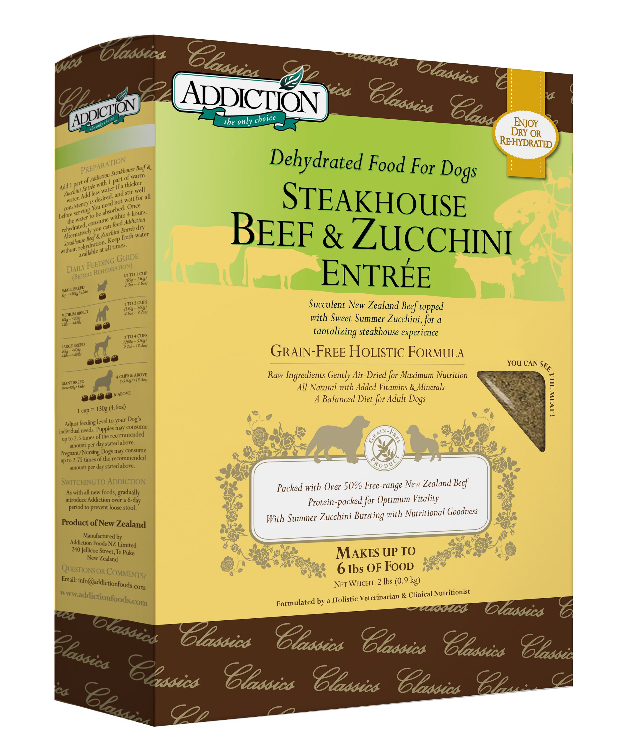 Addiction Steakhouse Beef & Zucchini Grain Free Dehydrated Dog Food, 2 Lb. by Addiction Pet Foods