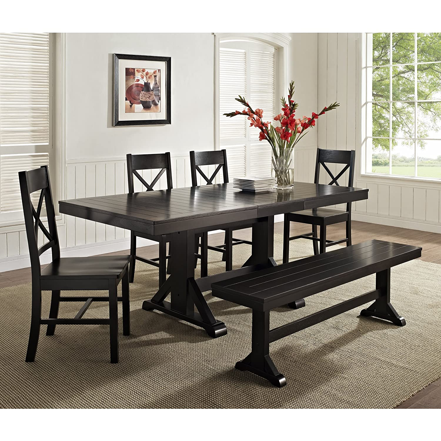 amazoncom we furniture solid wood black dining bench kitchen dining - Wooden Dining Table With Chairs