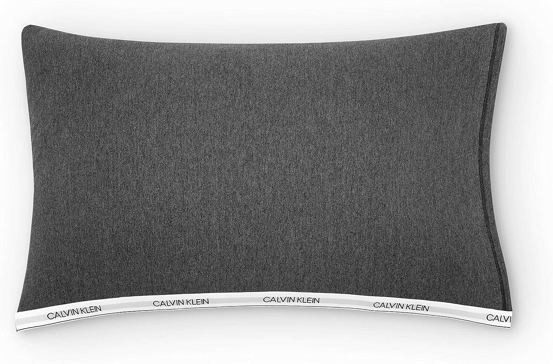 Calvin Klein Classic Logo Pillowcase, STD PCP, Heathered Charcoal