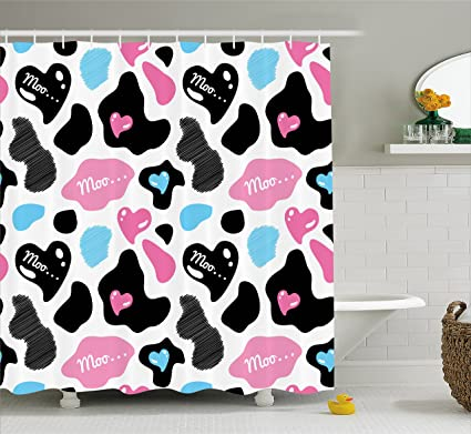 Ambesonne Cow Print Shower Curtain Hide With Hearts Moo Barnyard Love Valentines Abstract Design