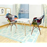 WestWood 1 Pair of Retro Patchwork Chair Armchair Fabric Seat Vintage Living Room Home Furniture Colourful PC002 DAW