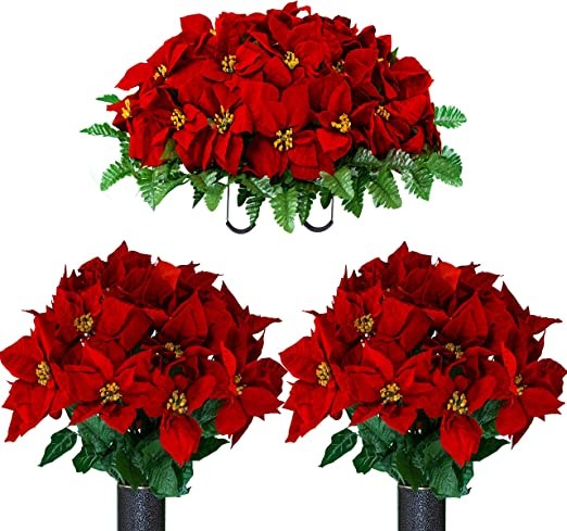 grave //pot// vase Artificial Christmas flower memorial red /& gold and white lily