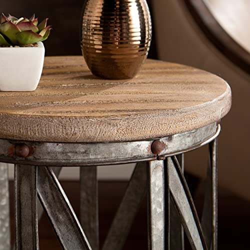 Mencino Industrial Accent Tables – 2 pc set – Rustic Antique Silver Finish w Weathered Fir